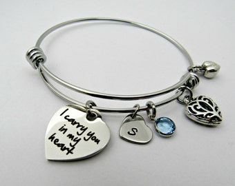 I Carry You In My Heart Bracelet, Stainless Steel Bracelet, Memorial Bracelet, Heart Charm, Personalized Bangle, In Memory