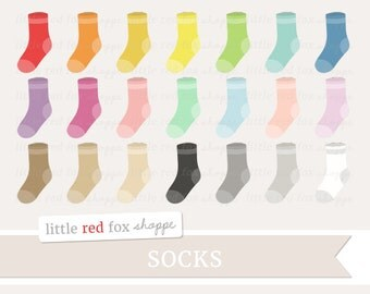 Sock Clipart, Socks Clip Art Stocking Laundry Day Baby Nursery Pajamas Clothes Clothing Tag Cute Digital Graphic Design Small Commercial Use