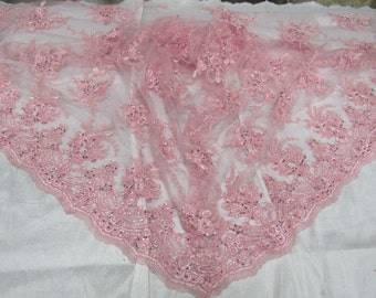 Glamorous French flower design bridal wedding beaded mesh lace fabric pink. Sold by the yard