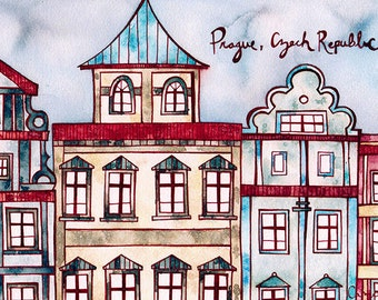 PRAGUE CZECH REPUBLIC Print 8x12 Ink and Watercolor Painting