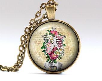 Anatomy jewelry Flower necklace Rib cage charm RO1504