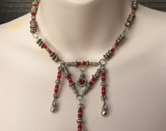 Red stone and Tibetan silver handmade necklace