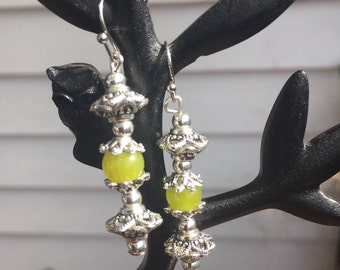 Green Gem and Tibetan silver Earrings