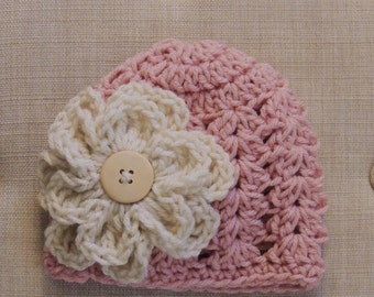 Crochet flower Beanie, Luv Beanies, Pink Beanie, Baby girl hats, photo prop, pink hats, hats for girls, flower hats, knit hats