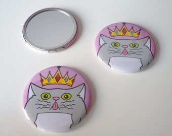 Moon the Cat Regal Kitty design pocket mirror. FREE UK SHIPPING