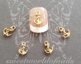 3D Summer Nail Art Gold Anchor Charms Resins Studs
