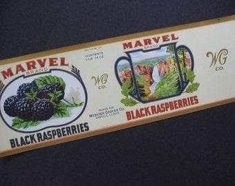 Vintage Canned Food Label Marvel Brand Black Raspberries Webster Grocer Co Danville, Illnois - 1930's