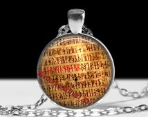 239# Ancient runes pendant, rune necklace, icelandic runes, viking amulet, icelandic jewelry, pagan necklace, magic, nordic necklace,