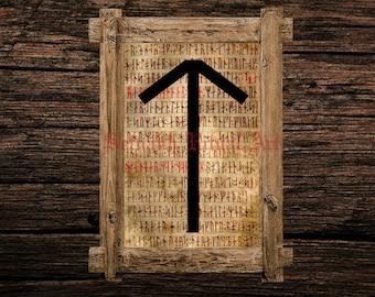 Tiwaz print, rune illustration, Elder Futhark art, viking home decor, magical illustration, esoteric, magic, occult canvas poster #339.17