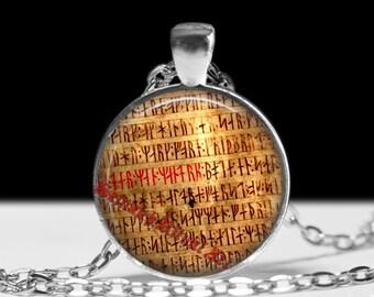 Ancient runes pendant, rune necklace, icelandic runes, viking amulet, icelandic jewelry, pagan necklace, magic, nordic necklace #239