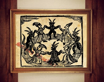 Black Sabbath print, witches and devil dancing illustration, medieval poster, occult art, wall decor,  rustic home, demons, beast #341