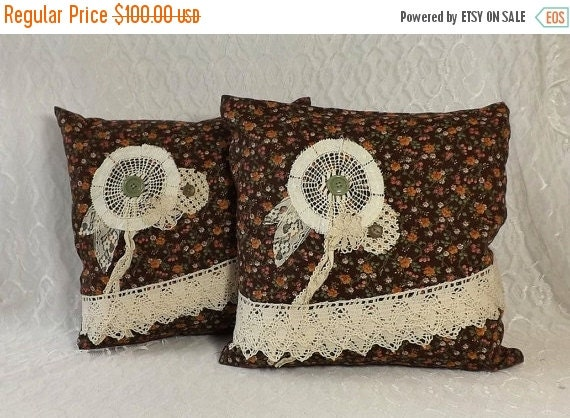 Sale 2 Rustic Boho Throw Pillows with Vintage Ivory by AlteredEco2