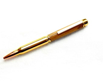 Handmade Bullet Gold Plated Twist Pen with Wood Top