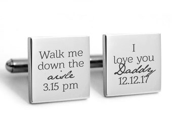 Father of the Bride Cuff Links Stainless Steel Gifts for Dad