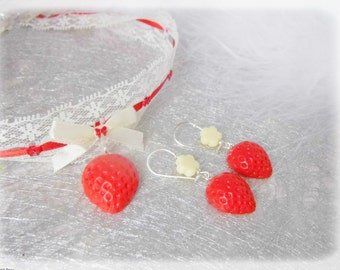 Adornment Vanilla-Strawberry kawaii * necklace/earrings *.