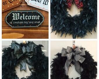 Custom Black Feather Wreath, Halloween Door Wreath, Black Feather Wreath