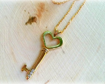 Key to my Heart Necklace, Heart Key Necklace, Gold Key Necklace, Gold Key Pendant, Diamond Necklace, Symbol Necklace, Valentines Day Gift