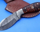 HTK -255 Damascus  Knife/ Skinner / Hunting / Camping / Hand Made / Custom / Rose Wood Handle