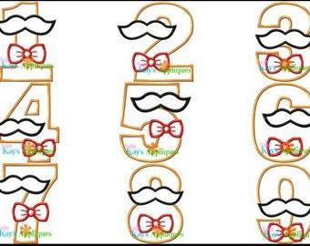 Personalized Mustache Birthday Applique Shirt, Personalized Mustache Birthday Number Shirt