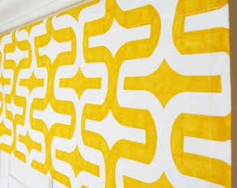 "Yellow Window Valance.Yellow Grey Valance.Nursery Valance.Kitchen Valance.Window Treatment Valance.Valances.52""x15"" Any Size"