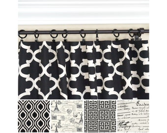Black Window Curtain.Black Drapes.Eiffel Tower Curtain.Kitchen Curtain.Quartrefoil Curtain.Greek Key Drapes.European Home Decor