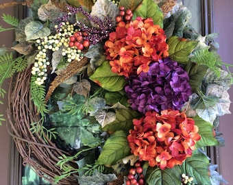Autumn Wreath, Fall Wreath, Front Door Wreath, Grapevine Wreath, Hydrangea Wreath, Elegant Wreath