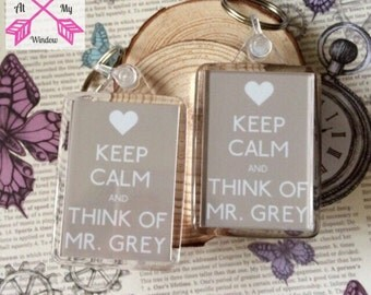 Keep Calm and Think Of Mr Grey Keyring, Keep Calm and Think of Mr Grey keychain, 50 Shades of grey keyring, Fifty Shades of grey keychain,