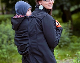 Beautiful babywearing softshell jacket with hood - black. Baby and mother, 3 in 1, baby carrying coat.