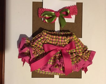 Baby girls hot pink and lime green ruffle bottom and headband