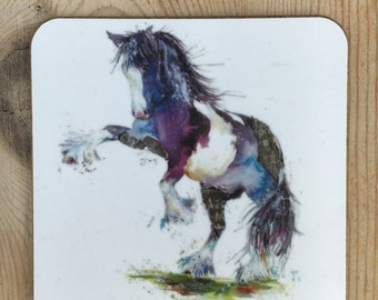 Designer watercolour Horse / pony  printed ART  coloured cob Coaster by Nicola Jane Rowles made in UK