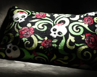 Super Cute and Spooky Fleece Sugar Skull Decorative Pillow!!