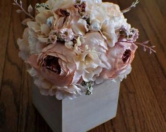 Silk flower arrangement, Hydrangea, Peonies,  Every Day Floral, Table Centerpiece, Bathroom Decor, Bedroom Decor