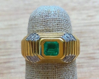 18K Gold Men's Emerald And Diamond Ring
