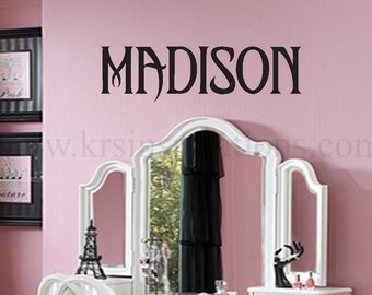 CUSTOM NAME in Maleficent Font Wall Decal