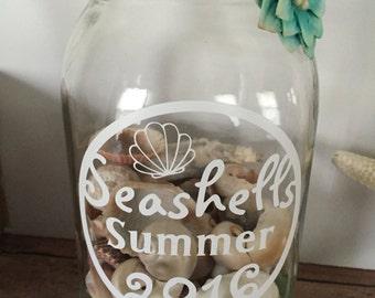 Painted Mason Jar, Seashell Collection Holder, Mason Jar Shell Holder, Summer Vacation Jar, Seashell Jar, Beach Decor, Beach Keepsake