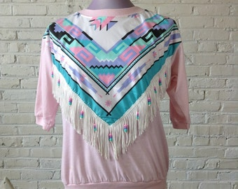 "Gorgeous vintage 1980s womens pink t-shirt with ""Southwestern"" design, FRINGE & BEADS. Sz Med-Lrg"