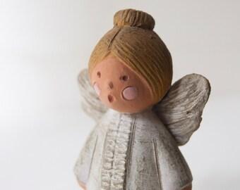 Ceramic, terracotta Angel, white Angel Christmas ornament, Christmas decoration,