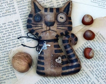 Primitive cat Extreme primitive folk art doll The unique gift fragrant handmade Primitive cat. Gribo.