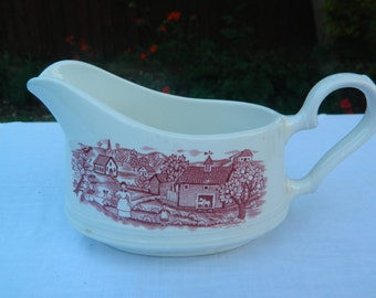 Vintage Johnson Bros Gravy Boat Red and White