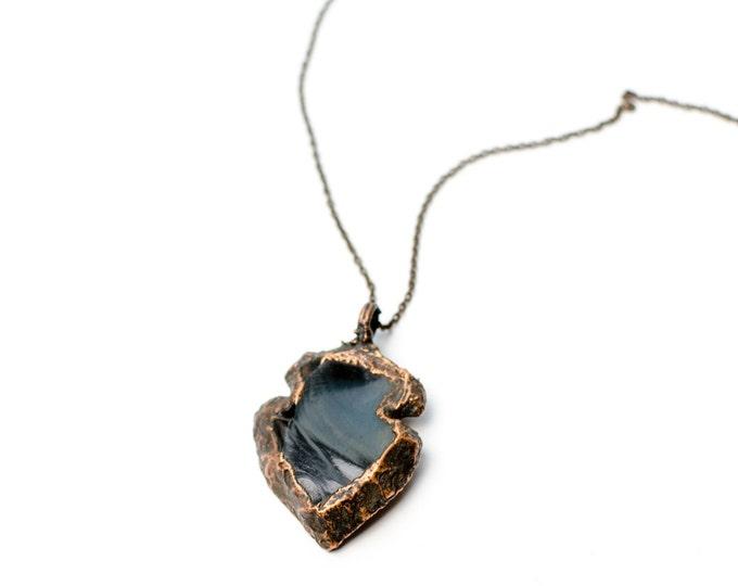 Electroformed Small Copper Black Obsidian Arrowhead