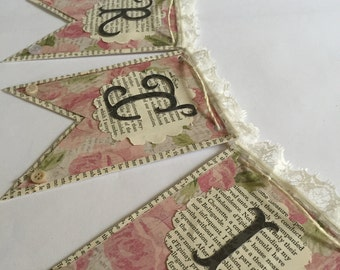 French Thank You Gift Banner Garland Vintage Style Party
