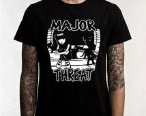 Fall Sales Event New! Emily The Strange Major Threat (Minor Threat Spoof) Unisex T-Shirt  -  s/xxxl Very Cool!
