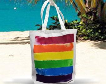 Rainbow Tote Bag. Rainbow Canvas Tote Bag. Rainbow Bag.