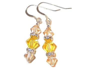 2-tone Light Topaz YELLOW Crystal Earrings GOLDEN SHADOW Sterling Silver Swarovski Elements - Clip-on or Pierced