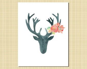 black & red watercolor stag with flowers
