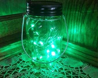 Hanging Mason Jar Solar Lid Light - Green Angel Lights - Firefly Lights - with 1 Green Mason Jar and Hanger - fairy light, solar mason jar