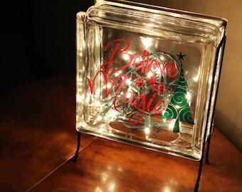 Believe in the Magic Vinyl Decal, Glass Block, Christmas, Lighting, Lights
