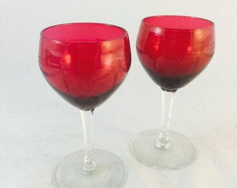 Pair Of Cranberry Glasses With Etched Garland Design
