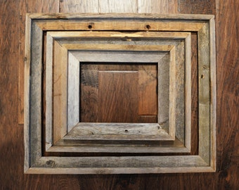 Set of 3 Rustic Weathered Picture Frames, Barnwood Natural patina, Pioneer Style Western Farmhouse