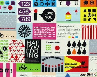 Message Card in Multi by Lecien Half yard 31230L-20